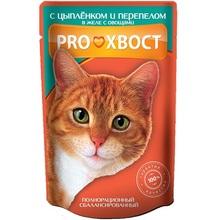 ProXвост 85 гр./ПроХвост консервы для кошек цыпленок и перепелка с овощами в желе
