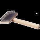 Зооник/Пуходерка деревянная плоская большая  (эконом) 07225