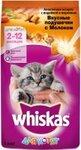Whiskas 1,9 кг./Вискас сухой корм для котят Вкусные подушечки с молоком Ассорти с индейкой и морковью