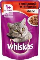 Whiskas 85 гр./Вискас консервы в фольге для кошек Желе с говядиной и ягненком