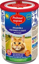 Родные Корма консервы для кошек с индейкой кусочки в соусе по-елецки 410 гр.