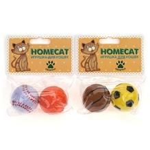 HOMECAT Игрушка для кошек спортивные мячи 2 шт Ф 4 см/72338/