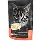 TASTY 85 гр./Консервы для кошек с говядиной в желе пауч