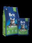 Brit Premium Cat Sterilised 300 гр./Брит Премиум сухой корм для кошек кастрированных нежная курица с куриной печенью