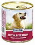 Happy Dog 750 гр./ Хэппи Догконсервы для собак Вкусная говядина с сердцем, печенью и рубцом