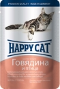 Happy Cat  100 гр./Хеппи Кет консервы  для кошек говядина с птицей соус