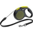Flexi Design/Поводок-рулетка  трос черная/желтый горошек  (до 20 кг) 5 м