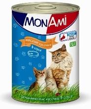 Mon Ami//Мон Ами консервы для кошек мясные кусочки в соусе 415 г