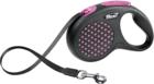 Flexi Design/Поводок-рулетка  лента черная/розовый горошек  (до 15 кг) 5 м