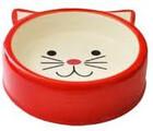 №1/Миска в форме мордочки кошки  керамическая (цвет: красный), 120 мл