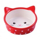 КерамикАрт/Миска керамическая Мордочка кошки красная в горошек 250 мл