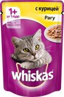 Whiskas 85 гр./Вискас консервы в фольге для кошек Рагу с курицей