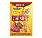 Friskies 75 гр./Фрискис Корм консервированный полнорационный для взрослых кошек, с говядиной и гречкой в подливе
