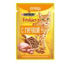 Friskies 75 гр./Фрискис Корм консервированный полнорационный для взрослых кошек, с курицей и гречкой в подливе