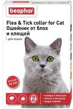 Beaphar Flea&Tick  35 см./Беафар ошейник для кошек красный от блох и клещей