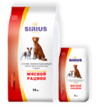 SIRIUS 3 кг./Сириус сухой корм для собак Мясной рацион