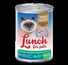 Lunch for pets Premium 400 гр./Консервы для кошек Мясное ассорти с языком в желе