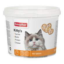 Beaphar Kitty`s Mix 750 таб./Витаминизированное лакомство-сердечки для кошек с таурином, биотином, протеином и сыром