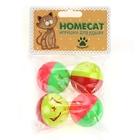 HOMEPET Игрушка для кошек мячи пластиковые звездочки с колокольчиком 4 шт. 4 см. (72349)