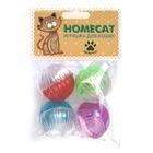 HOMEPET Игрушка для кошек мячи пластиковые разноцветные с колокольчиком 4 шт. 4 см. (72355)