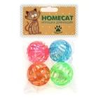 HOMEPET Игрушка для кошек мячи пластиковые калейдоскоп с колокольчиком 4 шт. 4 см. (72356)