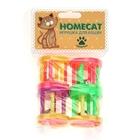 HOMEPET Игрушка для кошек барабаны пластиковые с колокольчиком 4 шт. 4 см. (72360)