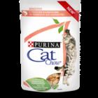 Cat Chow 85 гр./Кет Чау паучи для кошек с чувствительным пищеварением, с лососем и кабачками в соусе