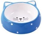 КерамикАрт 250 мл./Миска керамическая для кошек Мордочка кошки голубая