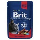 Brit Premium 100 гр./Брит премиум Влажный корм для кошек Рагу из говядины с горошком