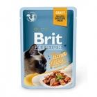 Brit Premium 85 гр./Брит премиум Влажный корм для кошек Кусочки из филе тунца в соусе