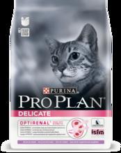 Pro Plan Delicate 400 гр./Проплан сухой корм для взрослых кошек с чувствительной системой пищеварения или привередливых в еде