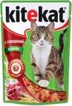 Kitekat 85 гр./Китекет консервы в фольге для кошек с говядиной в желе