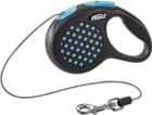 Flexi Design/Поводок-рулетка  трос черная/голубой горошек  (до 8 кг) 3 м
