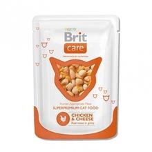 Brit Care 80гр./Брит Каре Суперпремиальный влажный корм для кошек  Курица и сыр
