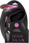 Flexi Design/Поводок-рулетка лента черная/розовый горошек (до 50 кг) 5 м