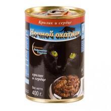 Ночной охотник 400 гр./Консервы для кошек Кролик и Сердце кусочки в соусе