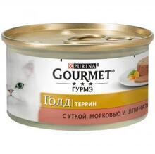 Gourmet Gold 85 гр./Гурме Голд консервы для кошек кусочки в паштете с уткой,морковью и шпинатом по французки