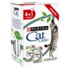 Cat Chow 5*85 гр./Кет Чау паучи для взрослых стерилизованных кошек и кастрированных котов,с ягнёнком и зел.фасолью в соусе