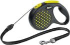 Flexi Design/Поводок-рулетка  трос черная/желтый горошек  (до 12 кг) 5 м