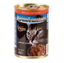 Ночной охотник 400 гр./Консервы для кошек Мясное ассорти кусочки в желе