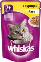 Whiskas 85 гр./Вискас консервы в фольге для кошек старше 8 лет Рагу с курицей
