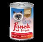 Lunch for pets Premium 400 гр./Консервы для кошек Говядина с сердцем в желе