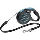 Flexi Design/Поводок-рулетка  трос черная/синий горошек  (до 20 кг) 5 м