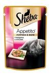 Sheba Appetito 85 гр./Шеба Аппетито консервы для кошек говядина/кролик желе