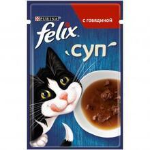 Felix 48 гр./Феликс Влажный корм суп для взрослых кошек с говядиной