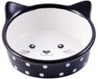 КерамикАрт 250 мл./Миска керамическая для кошек Мордочка кошки черная в горошек