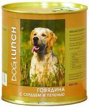 Dog Lunch 750 гр./Дог Ланч консервы для собак Говядина с серцем и печенью в желе