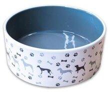 Миска КерамикАрт керамическая для собак с рисунком серая 350 мл